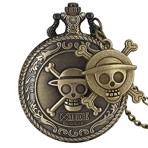 ZHAOJ Reloj de Bolsillo de Cuarzo con Cabeza de Calavera Vintage con Accesorio de Calavera de Cadena, Collar con Colgante de Mujer para Hombre, Reloj con Fob