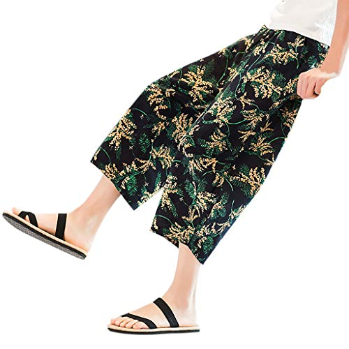 Xmiral Shorts Caprihose Herren Nationaler Stil Gedruckte Kordelzug Elastische Taille Beiläufige Shorts Cargohose Party Haremshosen(B Gelb,5XL)