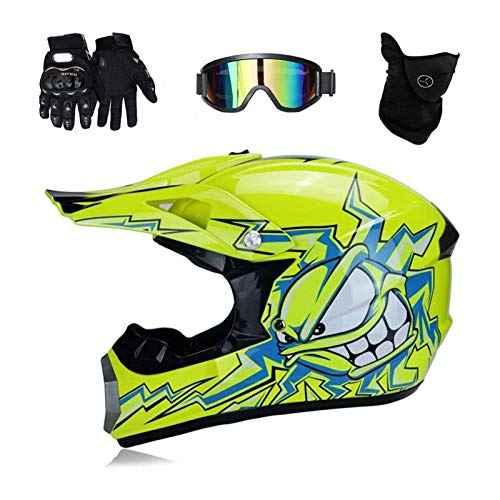 BLLJQ Casco Motocross Adulto, Off-Road Motorcycle Helmet 4PCS Juego De Casco Road Racing para El Casco Integral De Campo A Través Four Seasons Adulto Motocross Casco Moto Gafas Máscara Guantes