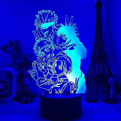Luces de noche 3D para niños y niñas lámpara anime Juju Kaisen luz LED Yuji Itadori para habitación Deco regalo de cumpleaños Juju Kaisen lámpara de control remoto