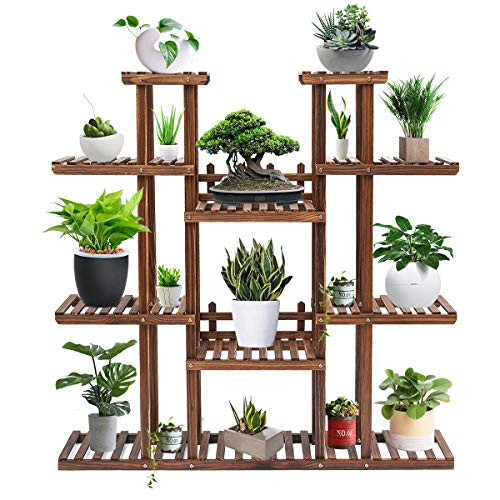 Tooca Plant Stand Wood Indoor, Multi-Tier, 47-inch Height, Stylish Plant Shelf Steady Vertical Outdoor, Tiered Plant Ladder, Display Storage Rack, Carbonized, with 3 Gardening Tools