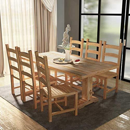 Festnight 7-TLG. Essgruppe Massivholz Teak | 1 Esstisch und 6 Esszimmerstühle | Esstischgruppe Essgruppe Esstisch-Set Stuhlset