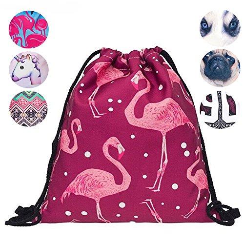Schultertasche / Rucksack mit Kordelzug aus Nylon, faltbar, Aufbewahrungsmöglichkeit für Schule, Zuhause, Reisen, Sport, Red flamingo