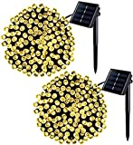Jiamao 2 Pack 75.5ft 200LED Solar Christmas Lights 8 Modes Waterproof Solar String Lights Solar Fairy String Lights for Garden,Home,Wedding,Party,Patio Decoration(Warm White)