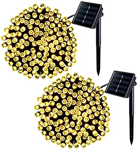 Jiamao 2 Pack 42.7ft 100 LED Solar Christmas Light 8 Modes Waterproof Solar String Light Warm White Outdoor Solar Fairy String Lights for Garden,Patio,Christmas Decoration(Warm White)