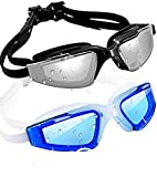 SBORTI Swim Goggles Swimming Goggles, Pack of 2 No Leaking Anti Fog UV Protection Swim Glasses Water Goggles Triathlon for Adult Men Women Youth Kids, with Mirrored & Waterproof (Black+Blue-2)