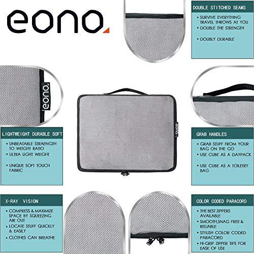 Amazon Brand - Eono 6 Teilige Kleidertaschen, Packing Cubes, Verpackungswürfel, Packtaschen Set für Urlaub und Reisen, Kofferorganizer Reise Würfel, Ordnungssystem für Koffer, Packwürfel - Net