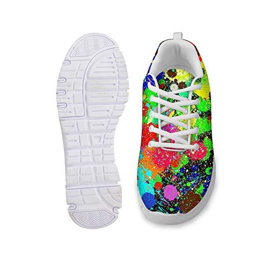 Herren Laufschuhe Turnschuhe Sportschuhe Bunte Graffiti Druck Sneaker Straßenlaufschuhe Freizeit Atmungsaktiv Trainers Schuhe Flache Wanderschuhe für Running Fitness (4 Optionen)