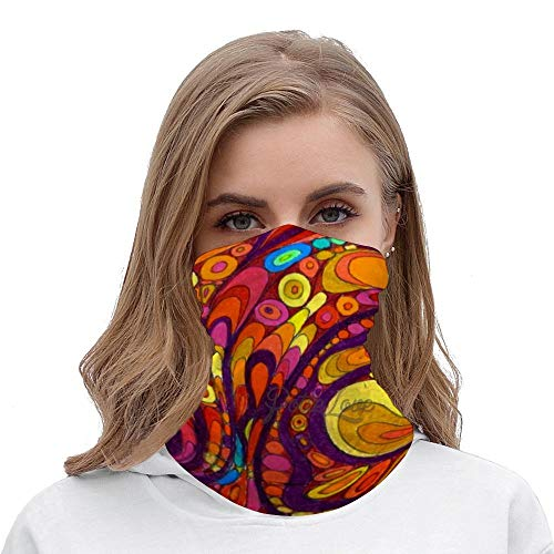 Hippie Chic Unisex Multifunctional Bandana Neck Gaiter Tube Headwear headkerchief, Motorcycle Face Bandana Headband for Women Men Face Scarf