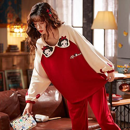 STJDM Bata de Noche,Otoño Invierno, Ropa de Dormir para Mujer, Ropa de hogar Informal de algodón Completo para Mujer, Cuello de muñeca Dulce, Ropa de salón, Pijama de cómic Suelto Suave L púrpura