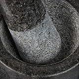 Relaxdays Granit Mörser mit Stößel, robust & langlebig, Gewürze, Kräuter, polierter Steinmörser, Ø 8,5 cm, V 100ml, grau - 8