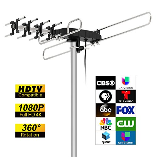 TV Antenna, TILVIEW Outdoor Amplified HD Digital HDTV Antenna 1080P 4K 360°Rotation 75 Mile Range Smart Antenna for TV Support UHF / VHF / FM Signal + Infrared Remote Control + 49.2ft Coaxial Cable