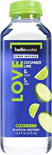 hellowater - Fiber Infused Water (Cucumber Lime (Love) - High Fiber - 0 Sugar - 0 Net Carbs - Nothing Artificial - Low Glycemic - 16 Fl. oz. Bottles (Pack of 12)