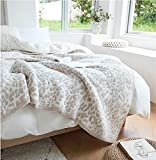 Fluffy Microfiber Leopard Knitted Throw Blanket Super Soft Cozy Lightweight Fleece Bed Blanket for Sofa Bed Stone Cream 53'x70'