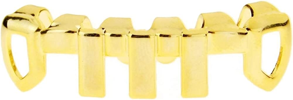 14k Gold Plated Grillz Vertical Bars Bottom Teeth Grill Open Face Premade Grills