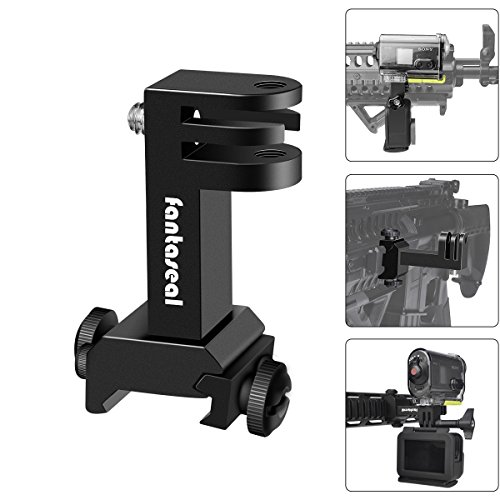 Hi-Precision Aluminum Alloy 2in1 Action Camera Gun Side Rail Mount Holder Motion Camcorder Picatinny Adapter Kit Compatible GoPro Sony for Shotgun Rifle Pistol Hunting Shooting Airsoft Paintball Sport