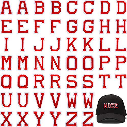 Boao 52 Stück Alphabet Applikationen Patches, Buchstaben Annähen Applikationen oder Aufbügeln Patches mit Gesticktem Patch A-Z Buchstaben Abzeichen Dekorativ Reparatur Patches (Rot)