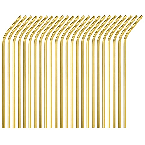 Sunwinc 50-Pack Stainless Steel Straws,Super Long 10.5 Inch Drinking Metal Straws for 30oz/20oz Tumblers Yeti Cups Travel Mugs,Reusable Rustproof Dishwasher Safe (All bent 50pcs -10.5' Gold)