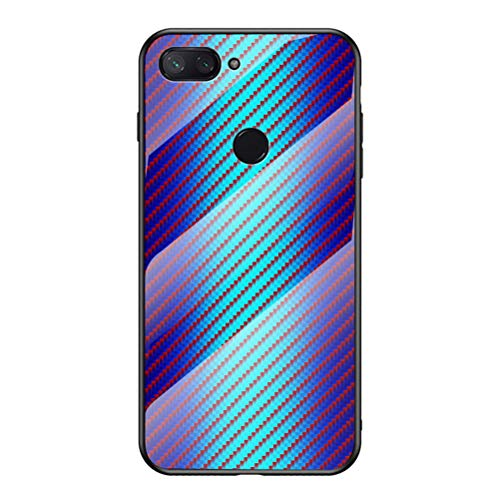 Capa Xiaomi 8 Lite, YINCANG [Cor Hyun] Estampa de fibra de carbono + Vidro temperado transparente + Capa traseira protetora TPU macia para Xiaomi Mi 8 Lite 6,2 polegadas Azul