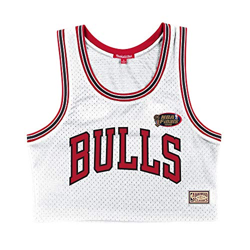Mitchell and Ness NBA - Canotta da donna in rete, motivo: Chicago Bulls, colore: Bianco bianco M
