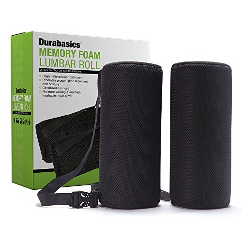 Durabasics Lumbar Roll - Lower Back Support Memory Foam Pillow for Back Pain Relief & Better Sitting Posture - Ergonomic Firm Cushion for Office Chair, Car Seat, Travel - Washable Mesh Cover - 2 Pack