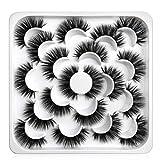 Pestañas Postizas 10 pares de Pelo Artificial 3D Mixtas Multipack, Tiras Completas, Natural Pestañas Falsa Largas Adecuado para Trabajar Citas Fiesta (5DAZO6)