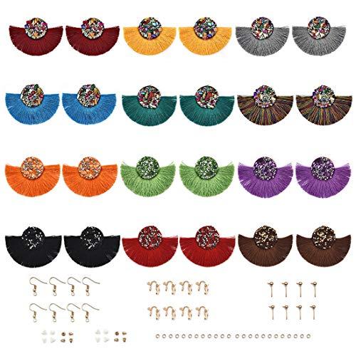 LANBEIDE 12 Pairs Statement Earrings Tessels Bohemian Fringe Silky Dangle Earrings Findings with Earring Hooks and Backs for DIY Boho Earrings