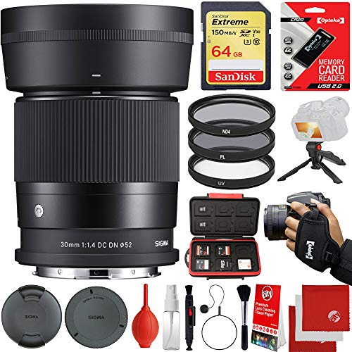 Sigma 30mm f/1.4 DC DN Contemporary Lens Leica L-Mount Bundle with 64GB Memory Card, 3 Piece Filter Kit, Wrist Strap, Card Reader, Memory Card Case, Tabletop Tripod