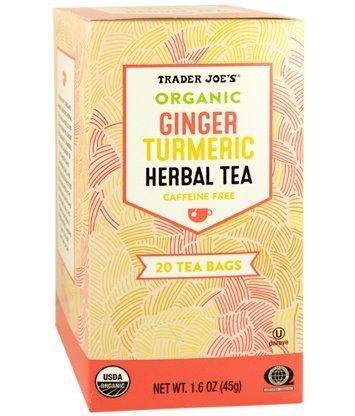 Trader Joe's Organic Ginger Turmeric Herbal Tea 20 Tea Bags (One Pack)