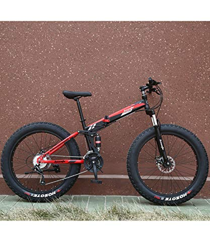 EMAIS Fat Tire Folding Mountain Bike, 26 inch Wheels 7 Speed Dual Suspension Snow Bike Beach Bike, High-Tensile Carbon Steel Frame MTB Bicycle Adults Bike