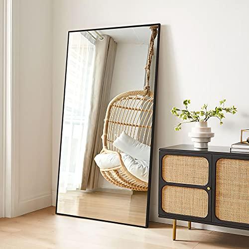 MiraHope 全身鏡 大型 姿見鏡 立てかけミラー 全身ミラー 壁掛け鏡 おしゃれ 幅80cm 高さ146cm (ブラック)