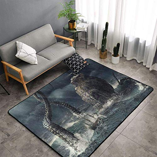 Alfombra de pulpo disfrazada de velero, 182,88 x 122,92 cm, para interior y hogar, alfombra antideslizante, para salón, dormitorio, cocina, comedor, café