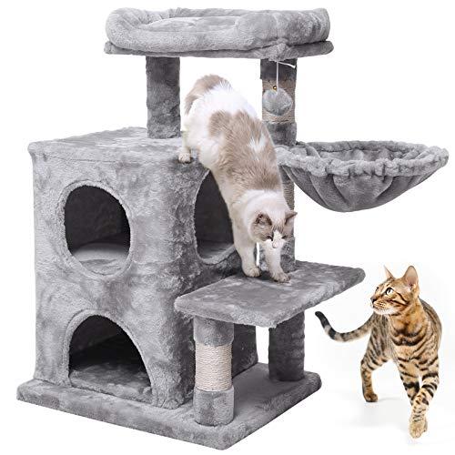 JISSBON Albero tiragraffi per gatti, piccolo 80 cm di altezza, albero da arrampicata con supporto di lusso, grande piattaforma di visione, per gatti di piccola taglia