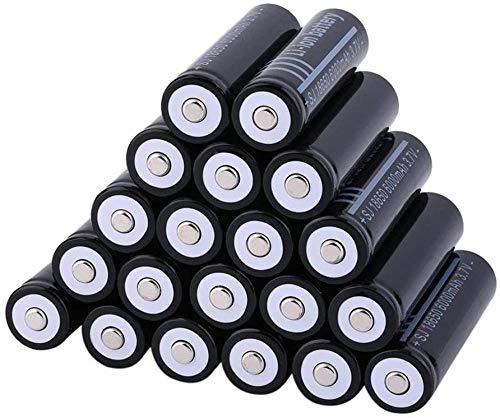 Batería de Litio Recargable 3.7V 6000mAh 18650 Batería de Iones de Litio de Litio Botón de Extremo Alto Batería 1000 Ciclos Linterna 18650 Vida Larga e Impermeable 20 Piezas