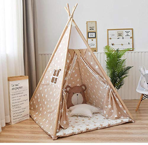 Topashe Large Kids Play House Play Tent,Children's tent, indoor play house (including cushion + line ball light)-E,Indoor and Outdoor Teepee Tent for Kids