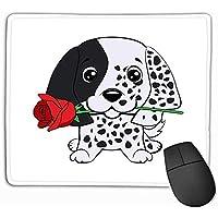 Texturizada Impermeable Alfombrilla De Ratón,Alfombrilla De Ratón Cachorro De Perro Setter Inglés Cute Flower Cartoon Dibujado A Mano Se Puede Utilizar Imprimir Niños Usan Moda Rectángulo Goma Mo