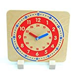 Lernuhr aus Holz mit Aufsteller / mit Stunden und Minutenaufdruck / Zeiger aus Holz / Größe: 24 x...