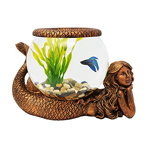 Exclusive Design New Mystical Mermaid Decorative Gold Antiqued Glass Fish Bowl Tabletop Aquarium or Terrarium or Candle Holder , New 1 Gallon Size Fish Bowl with River Rocks