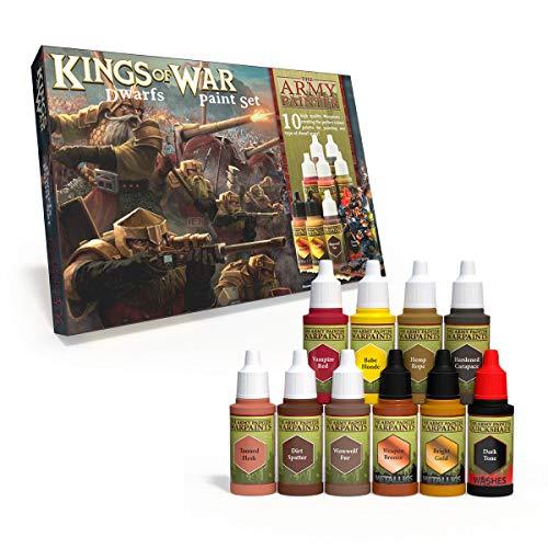 The Army Painter | Kings of War Dwarfs Malset | 10 Acrylfarben für das Bemalen von Fantasy Dwarf Infantry und Warmachines | Wargames Miniatur Modell Malerei.