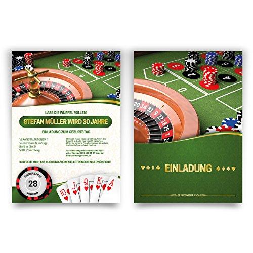 Einladungskarten zum Geburtstag (20 Stück) Casino Roulette Poker Spielkarten