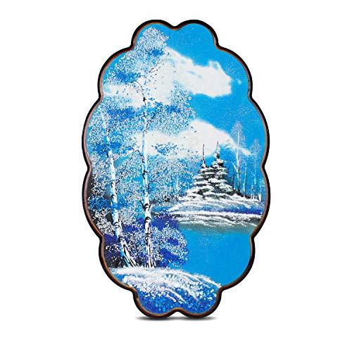 Heka Naturals Winterlandschaftsmalerei auf Holzsockel mit Relief aus Steinpulver aus Ural-Halbedelstein, Unikat, handgefertigt in Russland | Winterwald
