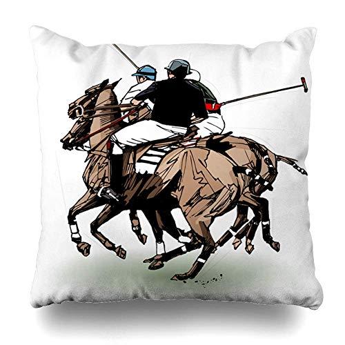 Egoa kussenslopen polospeler hand vrije tijd tekening sport recreatie dier buiten trofee helm paardrijden loopkussen 45X45cm Home Decor Throw Pillow Cover Boekenhandel decoratieve kussens