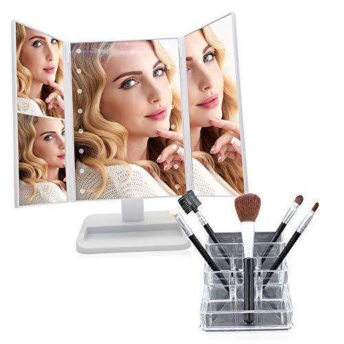 Kit Espejo de Maquillaje con Luz - Tríptico con Aumento - LED Ajustable por Sensor Táctil - Base con Rotación 180° - Regalo Original - Incluye Organizador y 5 Pinceles de Maquillaje (Blanco)