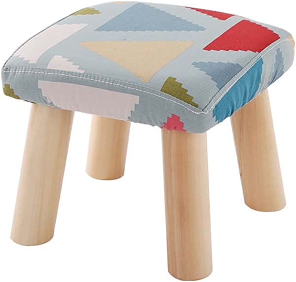 YAnFAn Stools Footstool Ottomans Premium Quality Comfort Solid Wood Shoes Stool 4 Legs Square Upholstered Footstool Sofa Low Stool Footrest 28x28x25cm For Home Commercial Color 5