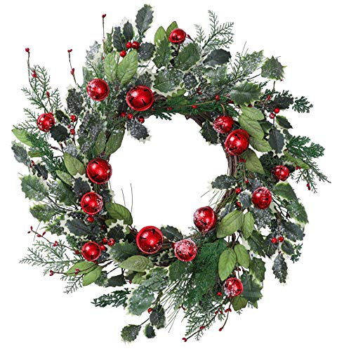 YNYLCHMX 22 Inch Christmas Wreath for Front Door, Artificial Door Wreath Flushed with Snowflake Green Leaves with Red Bells with Berry, Home Decor for Indoor, Windows, Wall, Holiday, Decoration