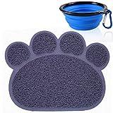 Alfombrilla de alimentación de PVC impermeable antideslizante para mascotas, para gatos, perros, platos, bandeja de arena con forma de pata y cuenco de silicona plegable para viaje (azul)