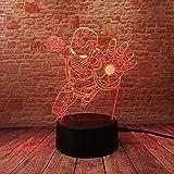 Novità Supereroe Ironman Action Figure 7 Colori Cambiando Led 3D Lampada Notte Bambino Bambini Tavolo Camera Da Letto Comodino Luce Regali