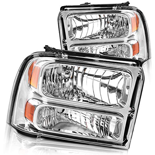DWVO Headlights Assembly Compatible with 2005 2006 2007 ford F250 F350 F450 F550 Super Duty/ 05 ford Excursion Headlamp Replacement,Chrome Housing