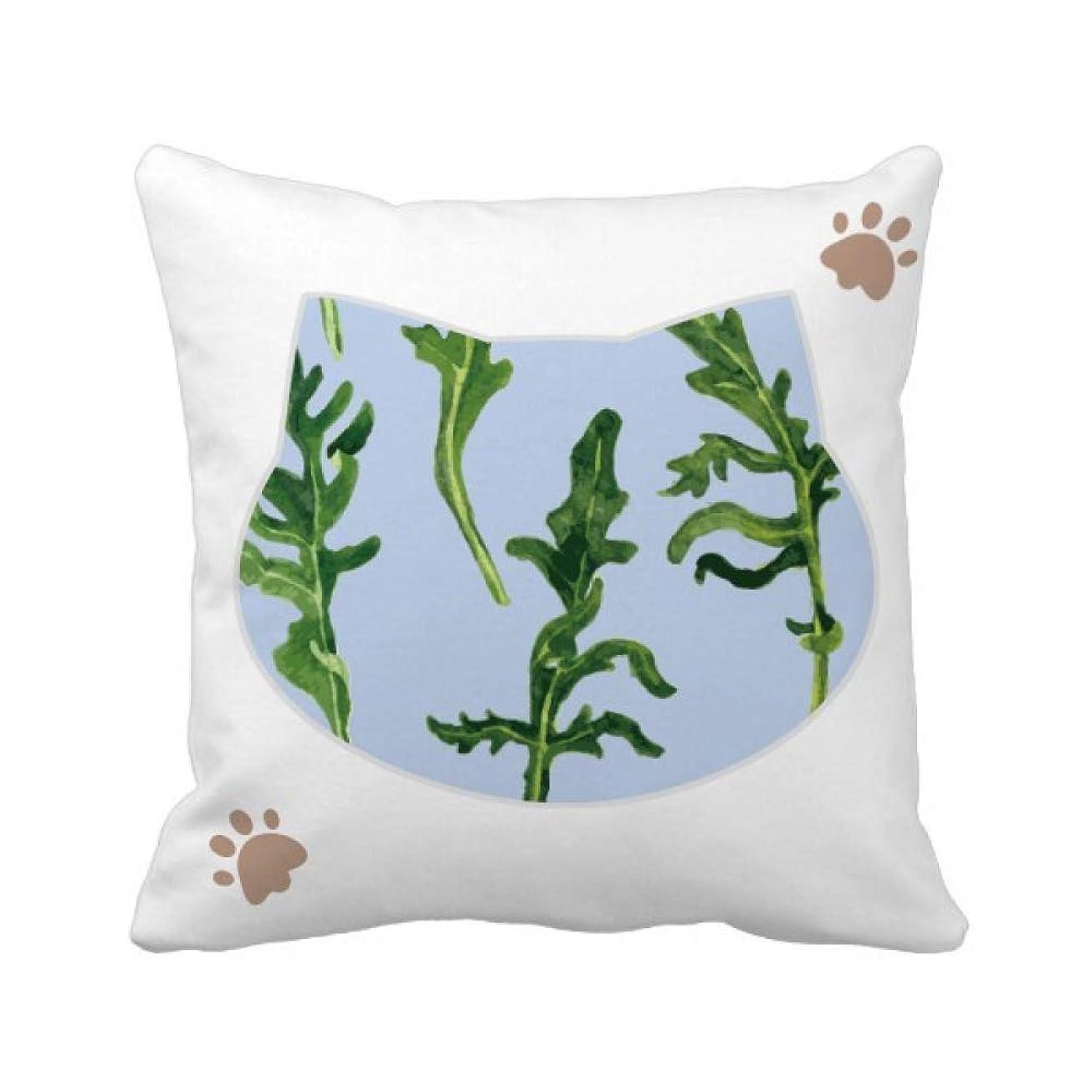 熟す尊敬する姓シダ植物の葉の描画のアート 枕カバーを放り投げる猫広場 50cm x 50cm