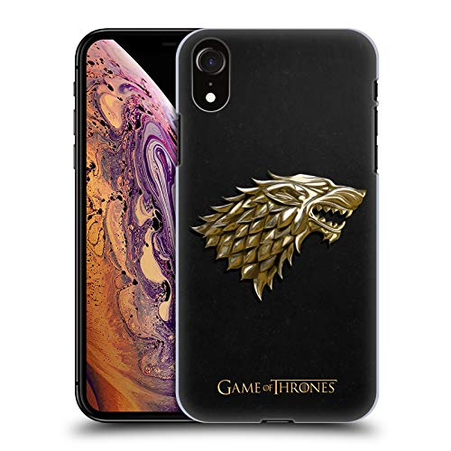 Head Case Designs Officially Licensed HBO Game of Thrones Gold Stark Embossed Sigils Hard Back Case Compatible with Apple iPhone XR